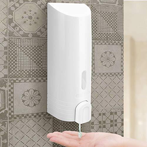 BAKAJI Dispenser Dosatore Sapone Liquido da Parete Muro Bagno in ABS Colore Cromo con Botiglia Portasapone Integrata da 380ml e Pulsante Erogatore Dimensione 22,5 x 7 x 8 cm (Bianco)