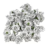 VORCOOL 50 Stück Kunstblumen Rosenköpfe Stoffrosen Deko-Blüte (Silber)
