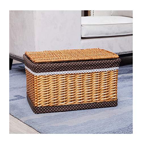 gaowei Cestas de mimbre rectangulares con tapa, multiusos, para almacenamiento de artículos del hogar, color D, tamaño XL