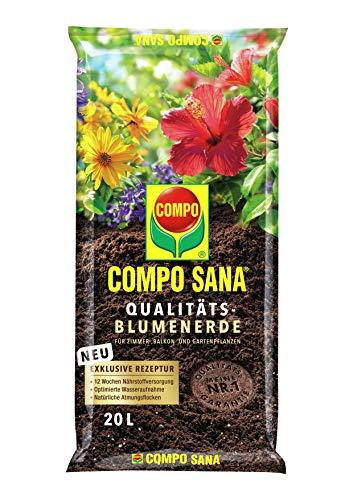 COMPO SANA Qualitäts-Blumenerde mit 12 Wochen Dünger für alle Zimmer-, Balkon- und Gartenpflanzen, Kultursubstrat, 20 Liter, Braun