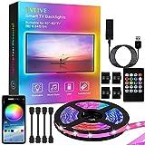 TVLIVE Tira LED TV 3M, Luces LED 5050 USB con Control App, 16 Millones de Colores y 29 Modos de DIY, Retroiluminación LED para TV de 40 a 60 Pulgadas y PC