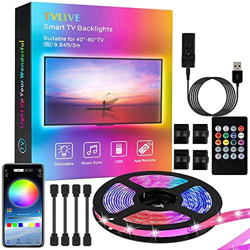 Tiras LED TV 3M, TVLIVE Luces LED 5050 RGB con Control App, 16 Millones de Colores y 29 Modos de DIY, Alimentado por USB, Retroiluminación para TV de 46 a 60 Pulgadas y PC