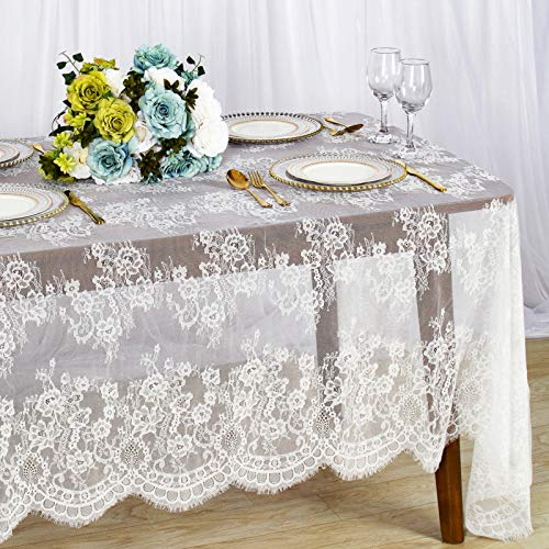 ShinyBeauty Lace-Tablecloth White 60x126-Inch Lace Tablecloth Overlay Embroided Overlay Nylon Tablecloth Lace Baby Shower Lace Tablecloth Rectangular Rustic Table Cloths