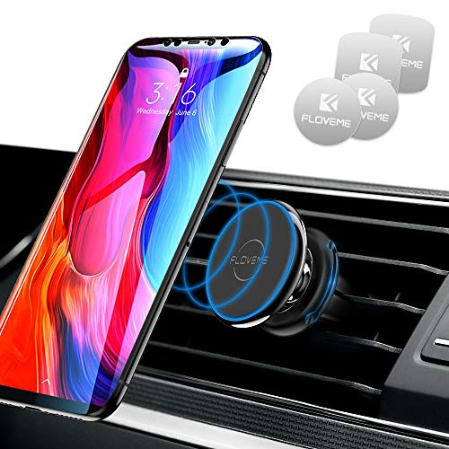 FLOVEME Handyhalter Fürs Auto, Magnet KFZ Handyhalterung mit 4 magnetischen Metallplatten Für iPhone XS MAX/XS/XR/X/8/7/6P, Samsung S9/S8/S7, Huawei - Schwarz