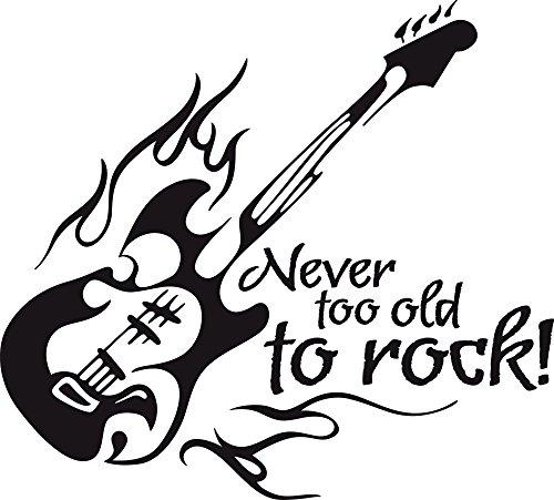 GRAZDesign Wohnzimmer Deko Musik Spruch - Wanddeko Jugendzimmer Never Too Old to Rock - Wandtattoo E-Gitarre Instrument / 63x57cm / 070 schwarz