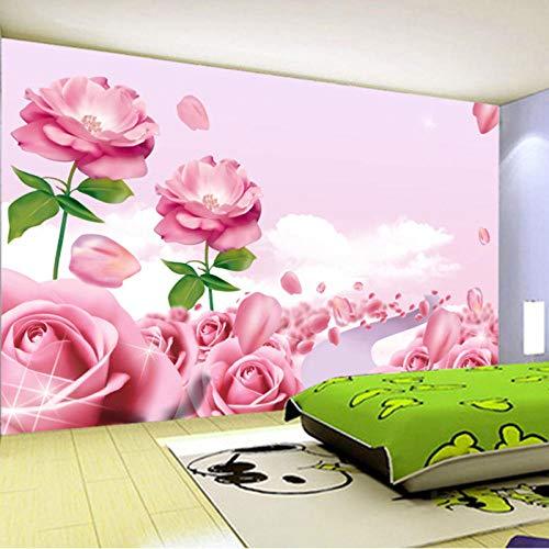 Preisvergleich Produktbild YCRY - Fototapete - Tapete Schöne romantische rosa Blumen 3D eco freundlich - Moderne Wanddeko - Design Tapete - Wandtapete - Wand Dekoration-350x250cm