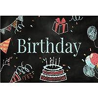 Assanu 5×3フィートビニール誕生日写真背景黒板誕生日ケーキパーティーキャップ風船ギフトチョーク描画図背景子供誕生日パーティーバナー周年記念お祝い