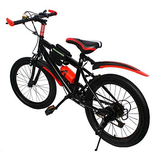 Vélo VTT 20' en acier carbone - Double frein à disque - Voiture de course - Multivitesses - Pour garçons et filles - Sports de plein air - Rouge