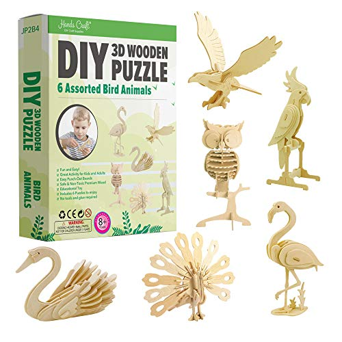 Hands Craft DIY 3D Wooden Puzzle Bundle Set, Pack of 6 Bird Animals Brain Teaser Puzzles   Educational STEM Toy   Safe and Non-Toxic Easy Punch Out Premium Wood   (JP2B4)