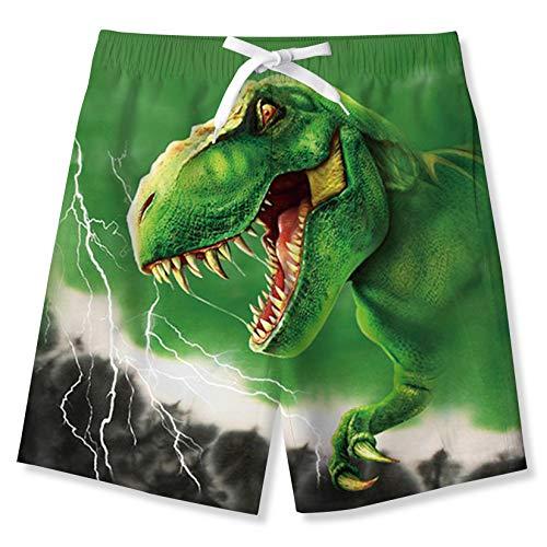 Fanient Pantaloncini da Bagno Ragazzo 3D Dinosauro Grafico Pantaloni da tavola Estivi Pantaloncini da Spiaggia Pantaloni da Corsa Hawaii Surf Costume da Bagno per Bambini 9-10 Anni
