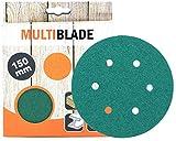 Multiblade Discos de lijado profesionales con velcro, 150 mm, 10 unidades, grano 320, 6 agujeros, para madera y metal, calidad profesional, para lijadora orbital, lijadora rotativa
