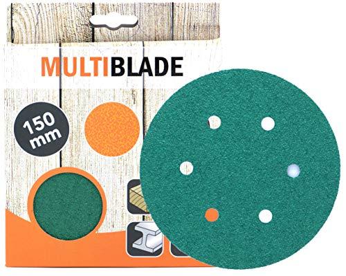 Multiblade Professioneller Klett Schleifscheiben 150mm, 10 Stück, Korn 240, 6 Löcher, für Holz und Metall, Profesioneller Qualität, für Exzenterschleifer, Rotationsschleifer