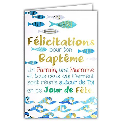 Afie - Biglietto di auguri per il tuo battesimo, padrino, madrina, giorno di festa, pesci, acqua, blu e oro, prodotto in Francia 69-7082