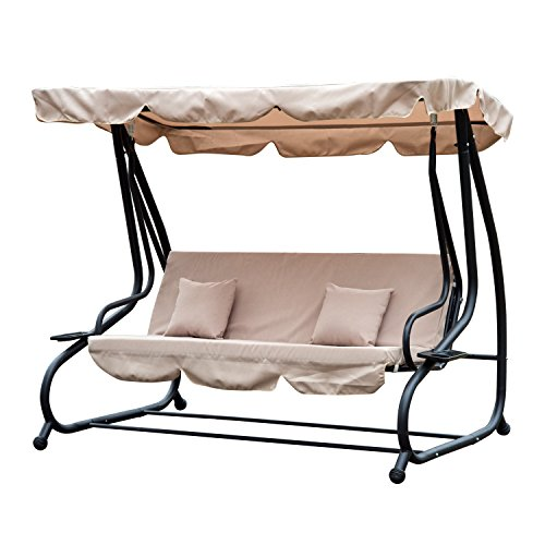 Outsunny Outdoor Swing Chair Bench Garden Hammock Patio Convertible Canopy Bed 3 Seater Beige