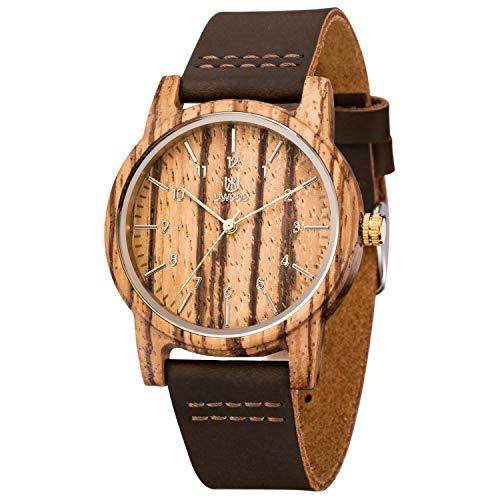 MUJUZE Herren Analoge Japanisch Quarzwerk 40mm Sandelholz Ziffernblatt Holzuhren mit Schwarz Leder Armband (Zebra)