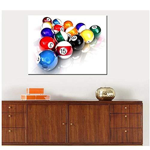 DLFALG Cuadro colorido de la bola de billar del cartel de la lona de la pintura del arte de la pared Impresión de la imagen modular del tenis Sport Room Club Decoración del hogar-42x60cm sin marco