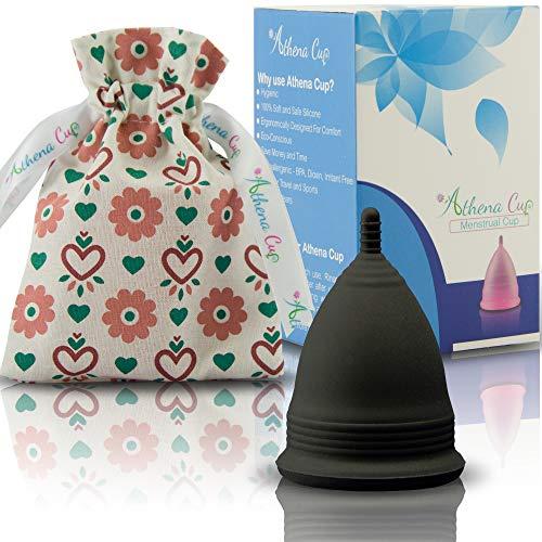 Menstruationstasse Größe 2 für normale bis starke Blutung - 12 Stunden Schutz - wiederverwendbarer Menstruationsbecher - Menstruations Cup (Modell 2, schwarz) von ATHENA Cup