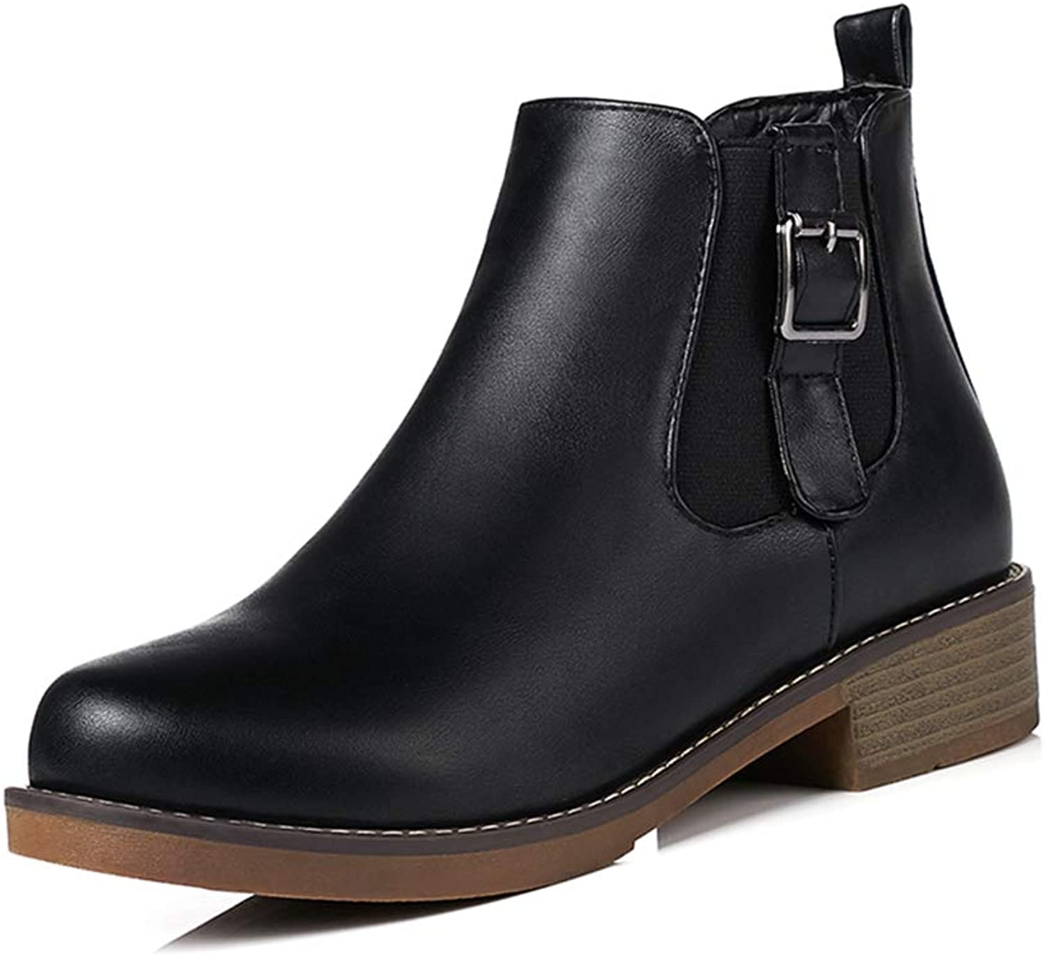 GIY Women's Round Toe Chelsea Boots Comfort Short Plush Waterproof Ankle Boots Winter Casual Slip On Short Boots