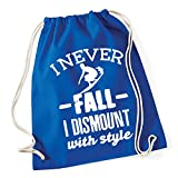 Hippowarehouse I never fall off I dismount with style - Surfing Drawstring Cotton School Gym Bag 37cm x 46cm, 12 litres
