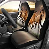 BIGCARJOB Universal Fit 2pc Front Car Seat Covers Brown Horse Seat Covers Drive Seat Saddle Blanket Covers Easy Install Vehicle Protector Mats