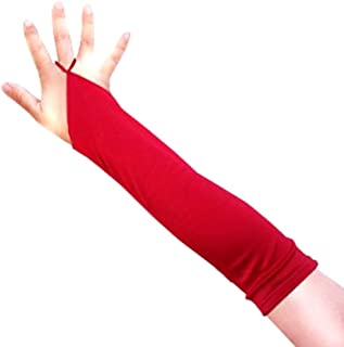 13 inch Children Kid Girls Fingerless Elbow Length Wedding Bridal Satin Gloves