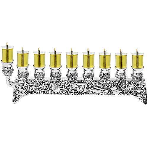 Chai Oil Menorah for Candles or Oil for Hanukkah