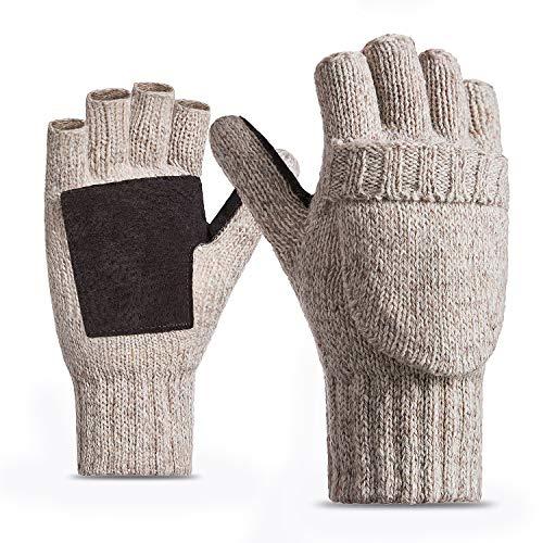 FWPP Winter Fingerless Gloves for Men Women Thinsulate Inner Wool Acrylic Knit Leather Palm