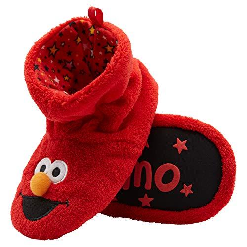 Sesame Street Boys Socktop Slippers Elmo, Cookie Monster, Big Bird Toddler Slippers for Toddlers (Red, 5-6 Toddler)