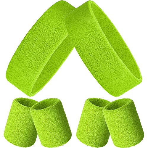 Bememo Sweatbands Set, Includes Sports Headband and Wristbands Sweatbands Colorful Sweatband Set for Men and Women (Neon Green, 6 Pieces)