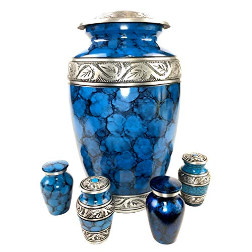 Cremation Urns for Human Ashes - Elegant Large Adult Urn + 4 Small Keepsake Mini Urns for Human Ashes Set | Beautiful Blue & Silver Engraved Funeral Urn for Human Ashes in Satin Lined Keepsake Box