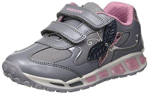 Geox Mädchen J Shuttle Girl A Sneaker, Grau (Grey/Pink C0502), 26 EU