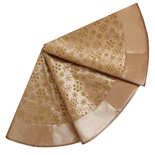 SORRENTO Gold Flocking fashionable tree skirt with faux silk border Christmas Tree Skirt(10-15 DAYS DELIVERY)