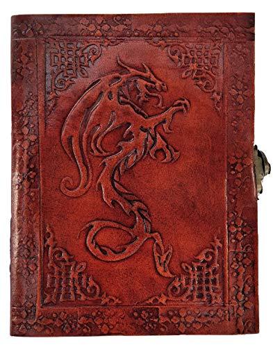 Kooly Zen Notizblock, Tagebuch, Buch, echtes Leder, Vintage, keltischer Drache, 13 cm x 17 cm, 240 Seiten, Premiumpapier
