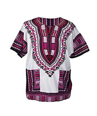 LOFBAZ African Dashiki Shirts For Men Women Hippie T Shirt Festival Clothing Print Boho Top 70s Tribal Africa Clothes White & Deep Pink X-Small