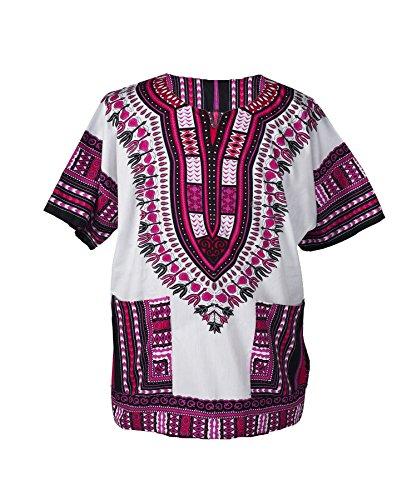 Lofbaz - Unisex Dashiki - Traditionelles Oberteil mit afrikanischem Druck XXL Weiß and Dunkelrosa