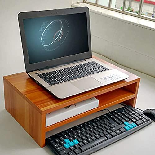 FGDSA Supporto per Monitor in Legno Supporto per Monitor in Legno Supporto per TV e Organizer da scrivania Rapporto qualità-Prezzo Molto Facile da Montare 56 cm * 31 cm * 6 cm-Marrone