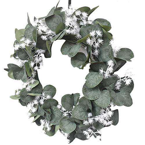 Guirnalda blanca de simulacin, flor artificial, anillo de lisimaquia, colgante de campo para puerta, corona de hojas redondas, decoracin de primavera (D)
