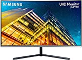 Samsung U32R592 Monitor Curvo 32 Pollici, Ultra HD, UHD, 4K, 3840 x 2160, 4 ms, 16:9, 60 Hz, 2160p, 1500R, 1 Display Port, 1 HDMI, Base a Doppio Snodo, Colore Blu/Grigio