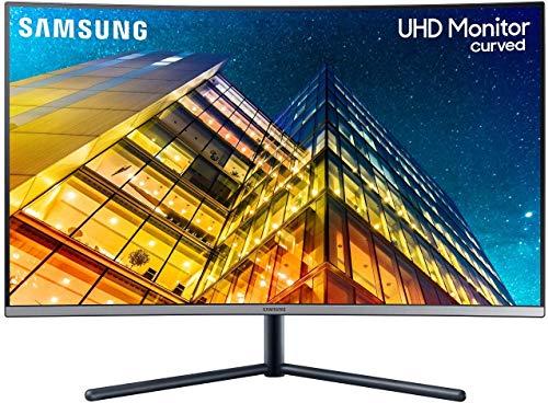 Samsung Monitor LU32R592CWRXEN Monitor Curvo 32 Pollici, Ultra HD, UHD, 4K, 3840 x 2160, 4 ms, 16:9, 60 Hz, 2160p, 1500R, 1 Display Port, 1 HDMI, Base a Doppio Snodo, Colore Blu/Grigio, Versione 2021
