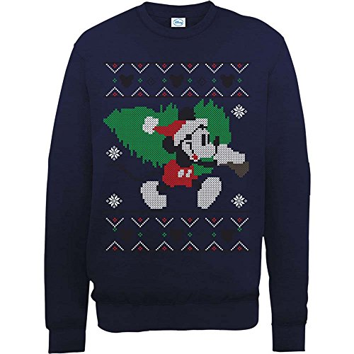 Brands In Limited Mickey Mouse Christmas Tree Sweat-Shirt, Bleu Marine, L Homme
