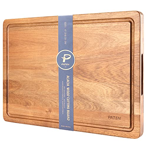 Paten Cutting Board, Wood Cutting Boards for Kitchen,Acacia Wood Cutting Board with Handle,Wooden Chopping Board with Juice Groove for Meat and Vegetables,17x12inches