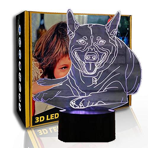 KangYD LED Luz nocturna Animal Dog, lámpara de ilusión óptica 3D, lámpara visual, B- Base negra remota (7 colores), Decoración moderna, Niño Lámpara