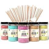 Greendoso-Azúcar para Algodón de Azúcar (5X350 Gr) = 1,750 KG (Sabores y Colores Naturales) Fresa-Cola-Manzana-Malvavisco-Vainilla + 50 Palitos de 30 Cm Reutilizables (Gratis)+1 Cuchara Graduada