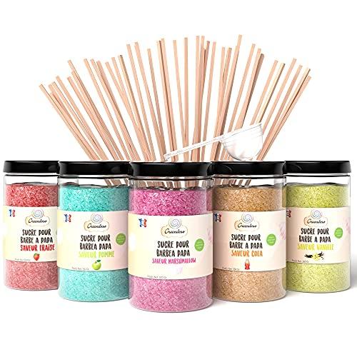 Greendoso- Zucchero Colorato per Zucchero Filato (5X350 Gr) = 1,750 KG (Aromi e Colori Naturali) Fragola-Cola-Mela-Marshmallow-Vaniglia + 50 Bastoncini Riutilizzabili di 30 Cm (gratis)+1 Cucchiaio