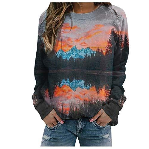 Lazzboy Store Sweatshirt Damen Pullover Landschaftsdruck Pulli Loose Top Bluse Tops...