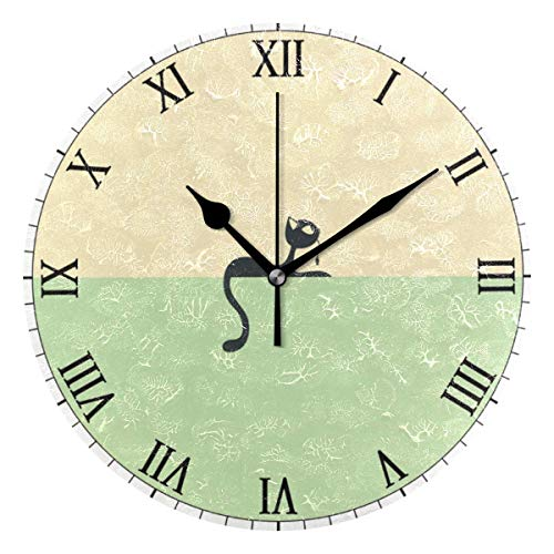 Reloj de Pared con diseño de Dibujos Animados de Kitten World Round, decoración para el hogar, Reloj de Escritorio, silencioso, a Pilas, Antideslizante, para casa, Oficina, Escuela (10 Pulgadas)