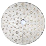 yuboo Christmas Tree Skirt,White Faux Fur with Gold Sequin Xmas Tree Mat for Holiday Party