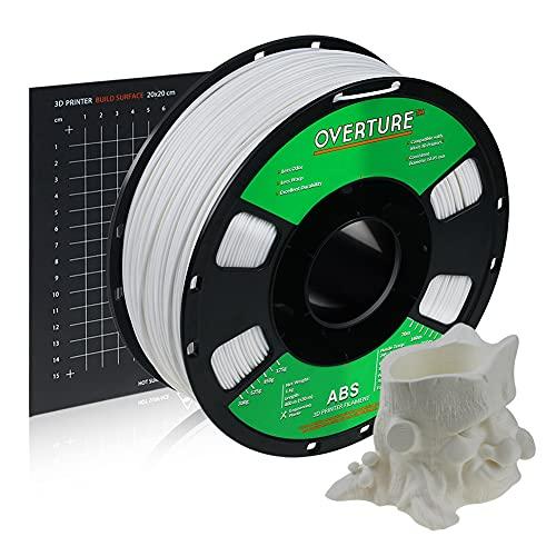 OVERTURE Filamento ABS 1.75mm con 3D Costruisci Superficie 200mm x 200mm Consumo per Stampante 3D, 1kg Bobina(2.2lbs), Precisione Dimensionale + - 0.05 mm, per Stampante 3D (Bianco)