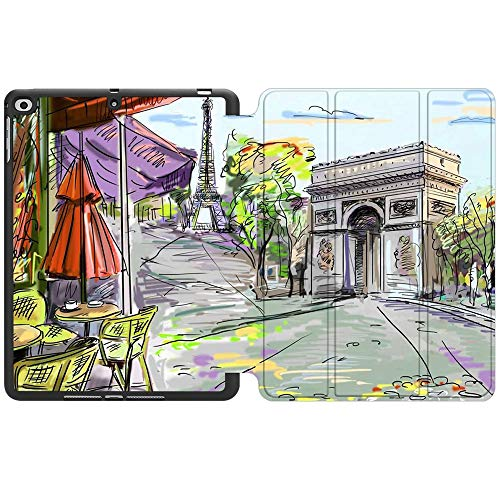 SDH New iPad 9.7 Inch 2018 2017 Case with Pencil Holder, iPad Air 1 / iPad Air 2 Smart Cover Folio Stand Protective for Apple iPad 5th 6th Gen Case (A1822/A1823/A1893/A1954), Painting City 8