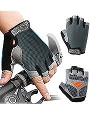 Inroserm Fietshandschoenen MTB Vingerloos voor Heren Dames, Mountainbike Handschoenen Antiship Schokabsorberende, Rijhandschoenen Zomer Ademend Voor Fitness Training Buitensporten